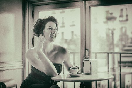Soprano Lisette Oropesa shot in a cafe in Madrid